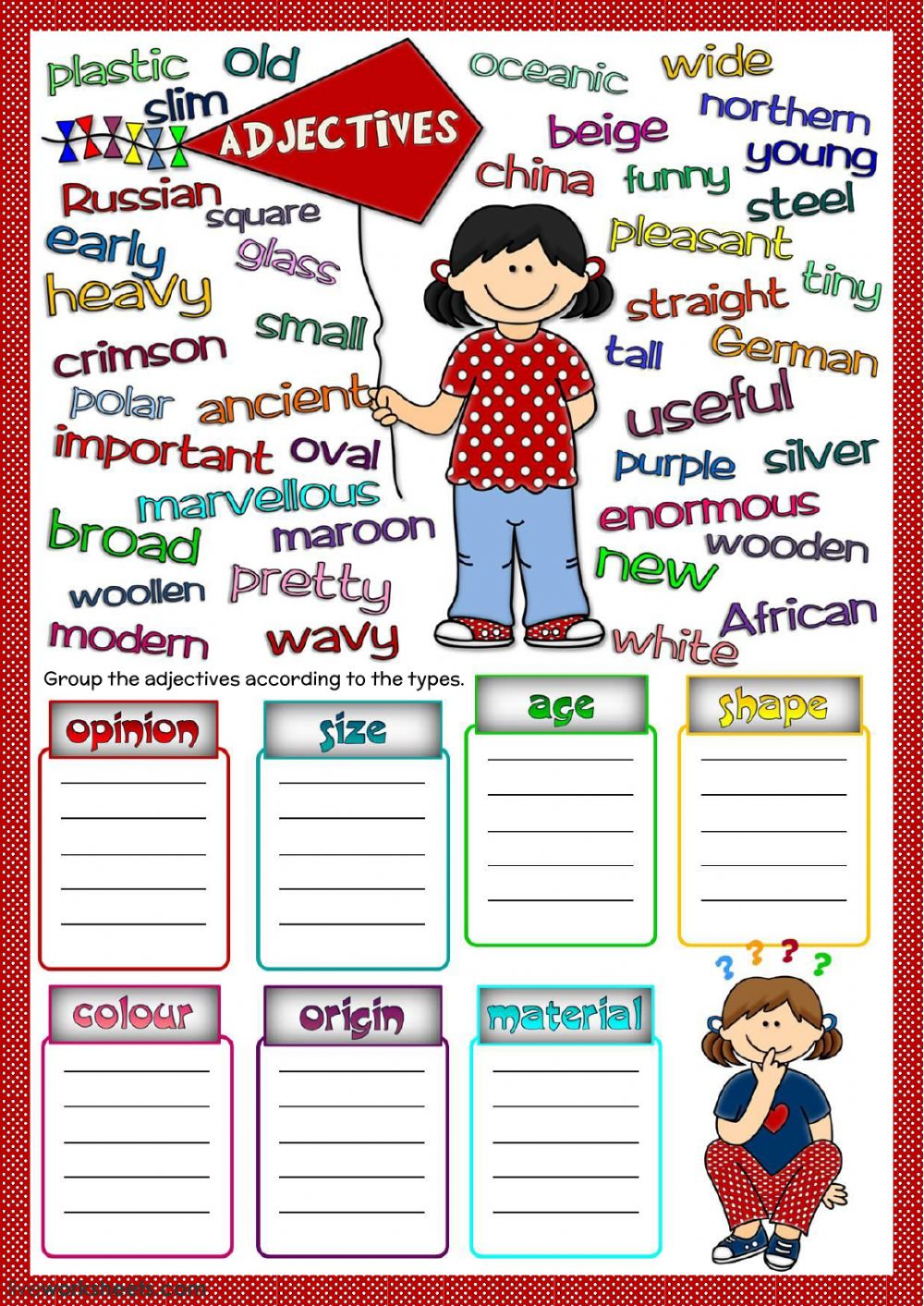 kinds of adjectives worksheets pdf